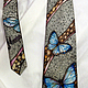 Tie men's silk batik 'morpho butterflies'. Ties. Kenaz silk (KENAZ). My Livemaster. Фото №4