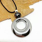 Украшения handmade. Livemaster - original item Pendant from hematin and pearl Glitter. Handmade.
