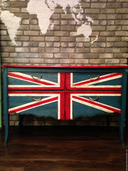 Мебель ручной работы. Ярмарка Мастеров - ручная работа. Купить Комод Union Jack. Handmade. Тёмно-синий, комод, гостиная