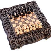 Активный отдых и развлечения handmade. Livemaster - original item Backgammon chess carved