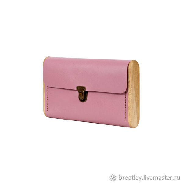 Evening clutch made of pink genuine leather and wood SINGLE REEL, Clutches, Moscow,  Фото №1