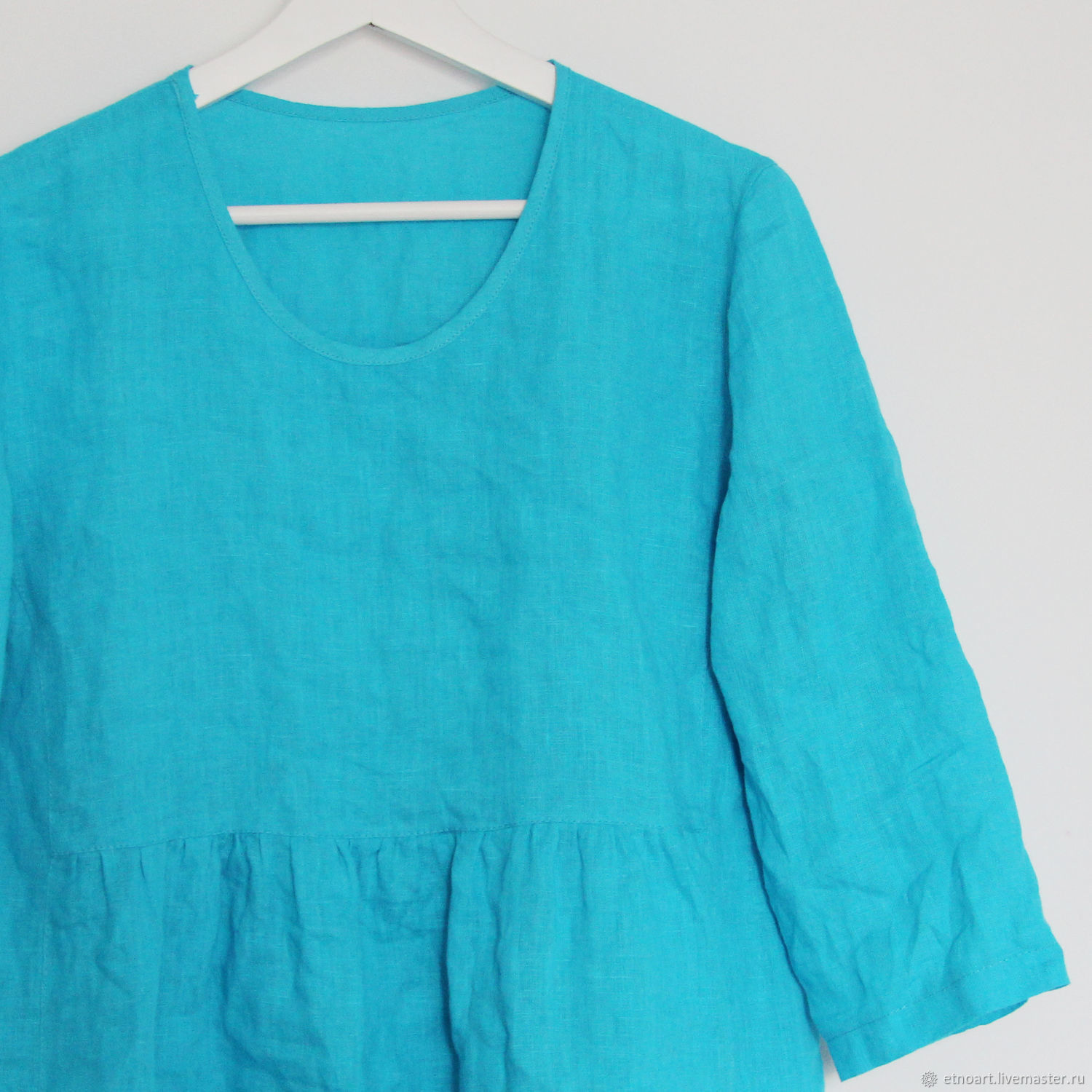 Turquoise boho blouse made of 100% linen, Blouses, Tomsk,  Фото №1