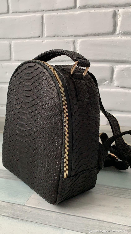 Black Python Leather Backpack, Backpacks, Izhevsk,  Фото №1