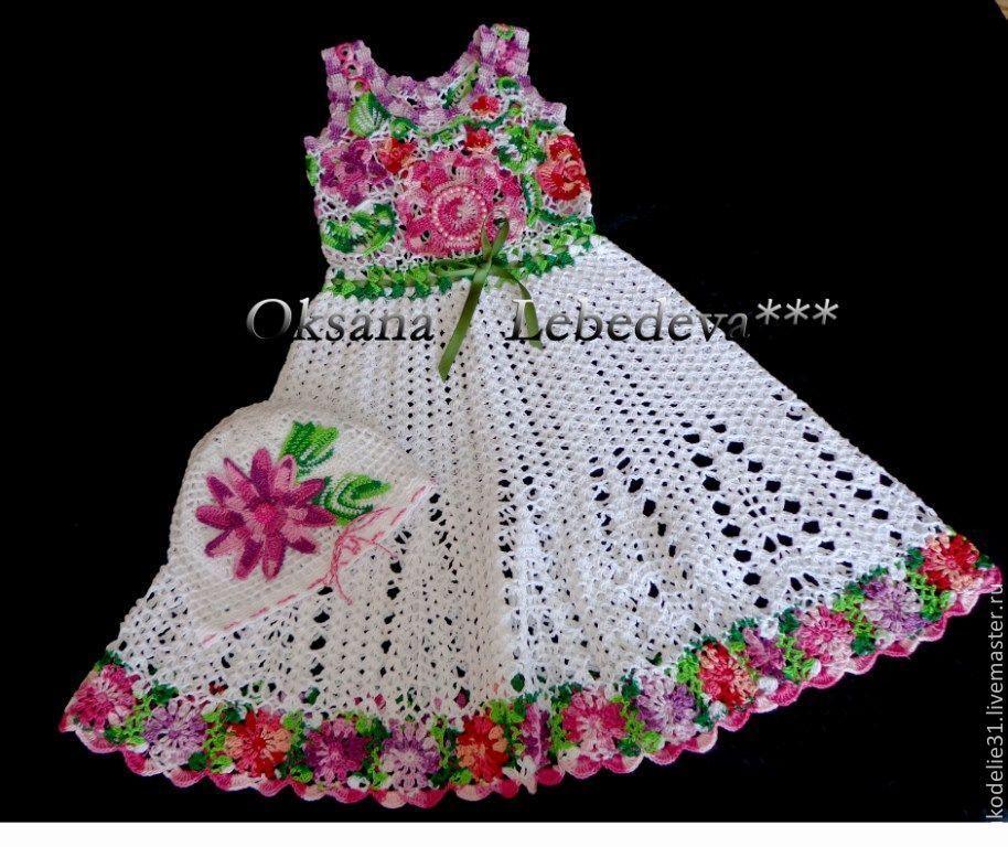 Вязание крючком детские платья и оформление цветочками 98