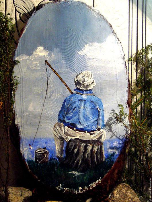 Люди, ручной работы. Ярмарка Мастеров - ручная работа. Купить Рыбак. Handmade. Синий, рыбак, подарок, спил дерева