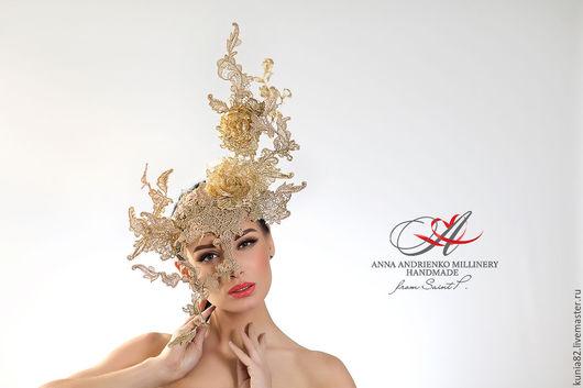 Свадебные и вечерние аксессуары ручной работы. Шляпа-маска `Gold dust`. Анна Андриенко. Ярмарка Мастеров.