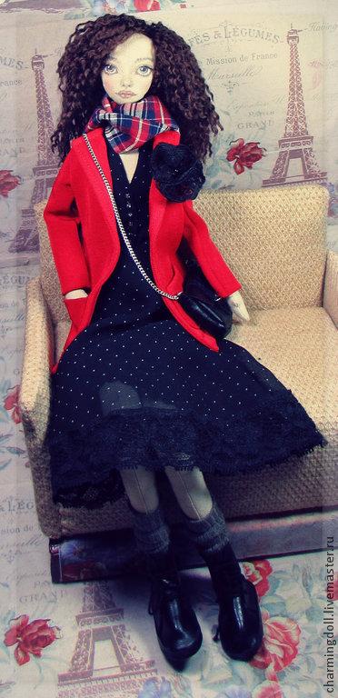 Человечки ручной работы. Ярмарка Мастеров - ручная работа. Купить Авторская текстильная кукла. Handmade. Ярко-красный, авторская работа