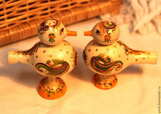 """Развивающие игрушки ручной работы. Ярмарка Мастеров - ручная работа. Купить Свистулька - птичка из дерева с росписью """"Веснушка"""". Handmade. Оранжевый"""