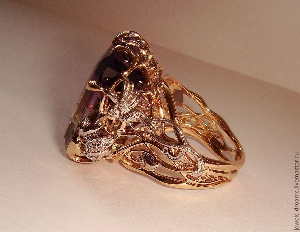 Ручная работа перстни с камнем из золота 45