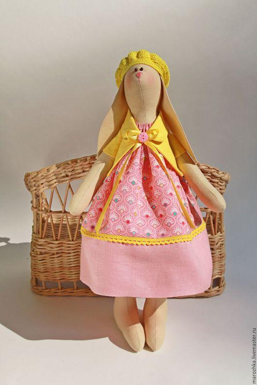Куклы Тильды ручной работы. Ярмарка Мастеров - ручная работа. Купить Зайка Тёплое Лето, игрушка в стиле Тильда розовый коралловый желтый. Handmade.