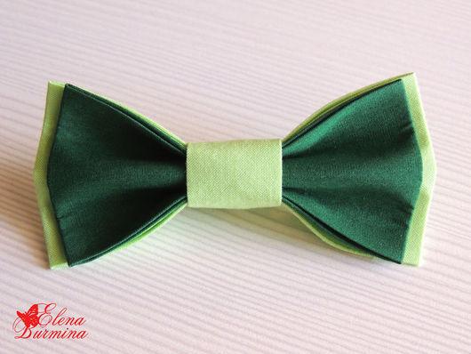Галстуки, бабочки ручной работы. Ярмарка Мастеров - ручная работа. Купить Бабочка галстук зеленая, хлопок. Handmade. Зеленый, изумрудный