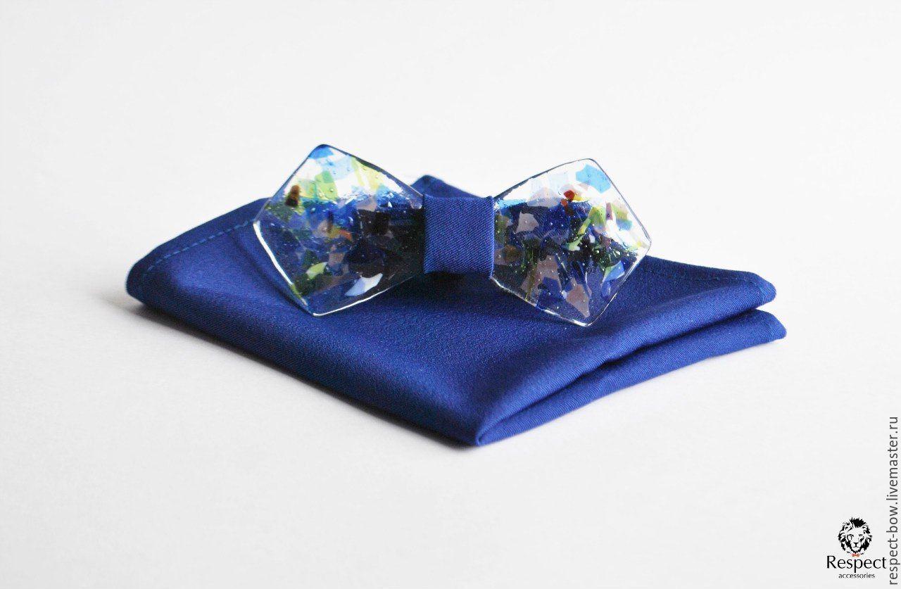 Exclusive glass tie blue Rainy Mood shawl Pasha, Ties, Moscow,  Фото №1