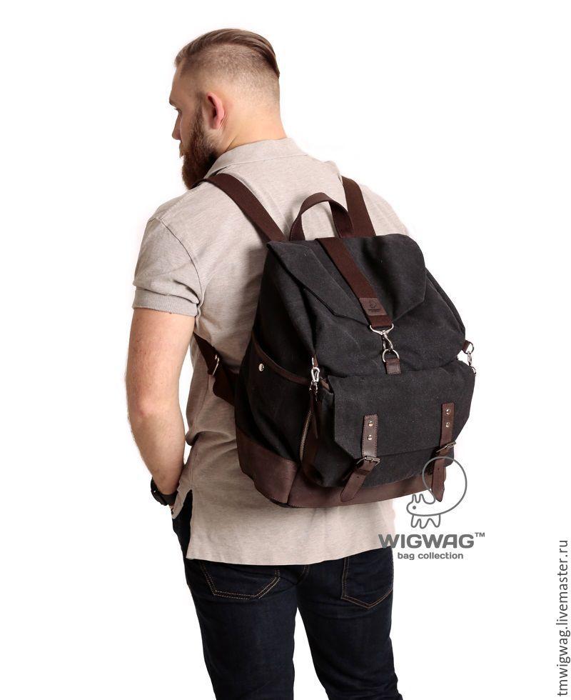 Сумки и аксессуары ручной работы. Ярмарка Мастеров - ручная работа. Купить Многофункциональный мужской рюкзак из канваса и натуральной кожи. Handmade.