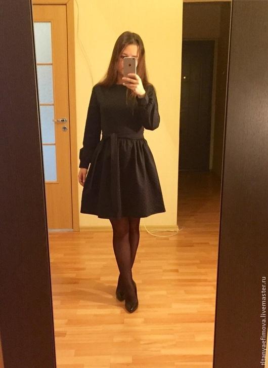Платья ручной работы. Ярмарка Мастеров - ручная работа. Купить Маленькое черное платье из жаккарда. Handmade. Черный, черный цвет