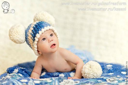 Шапки и шарфы ручной работы. Ярмарка Мастеров - ручная работа. Купить Снежки. Handmade. Голубой, шапочка для девочки, белый цвет
