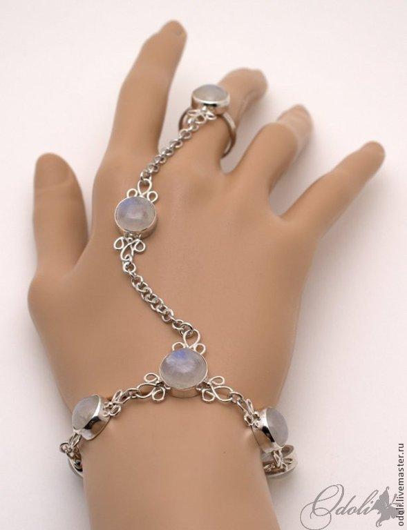 Bracelets Handmade Livemaster Silver Slave Bracelet With Moon Stone Beauty Of