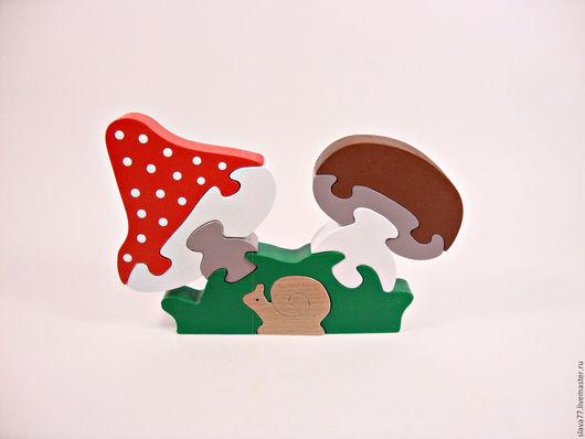 """Развивающие игрушки ручной работы. Ярмарка Мастеров - ручная работа. Купить Деревянный пазл """"Грибы"""". Handmade. Комбинированный, игрушка из дерева"""