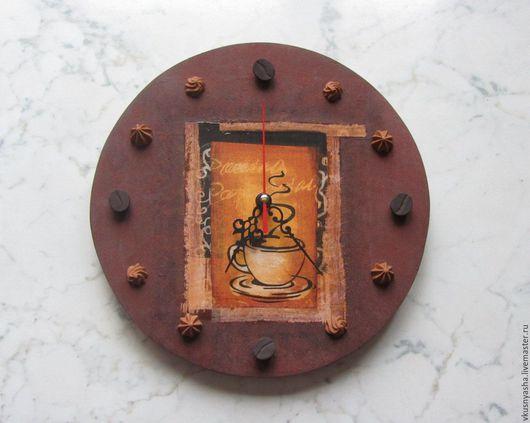 Часы для дома ручной работы. Ярмарка Мастеров - ручная работа. Купить Настенные часы в стиле декупаж декорированные полимерной глины. Handmade.