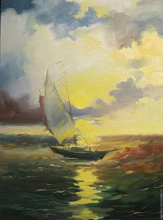 Пейзаж ручной работы. Ярмарка Мастеров - ручная работа. Купить Свежий ветер. Handmade. Комбинированный, солнце, парусник, морской пейзаж