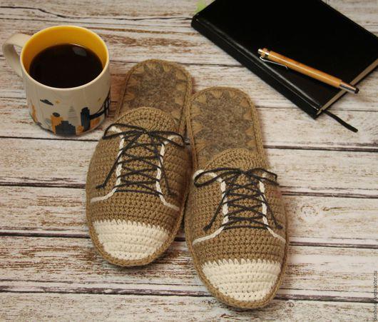 Обувь ручной работы. Ярмарка Мастеров - ручная работа. Купить мужские домашние тапочки УЮТНЫЕ БОТИНКИ домашние тапочки в подарок. Handmade.