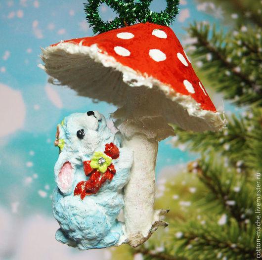 ватная елочная игрушка, елочная игрушка, елочные игрушки, елочные игрушки из ваты, ватное папье маше, папье маше, фигурка заяц, елочная игрушка заяц, мухомор, кролик, подарок на новый год