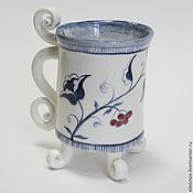 Посуда ручной работы. Ярмарка Мастеров - ручная работа чашка с цветком. Handmade.