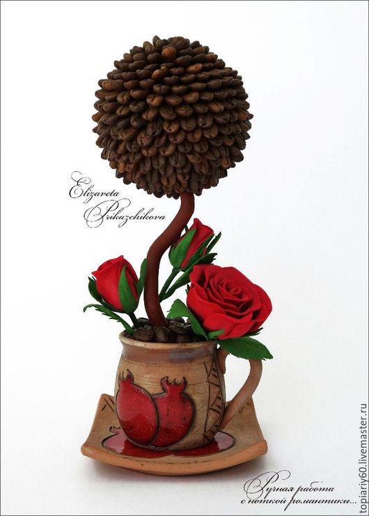 """Топиарии ручной работы. Ярмарка Мастеров - ручная работа. Купить Топиарий из кофе, деревце счастья """"Кофейная роза"""". Handmade. ароматный"""