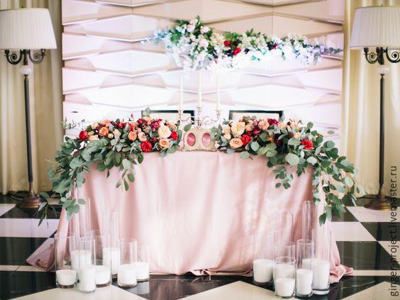 Оформление столов на свадьбу цветами