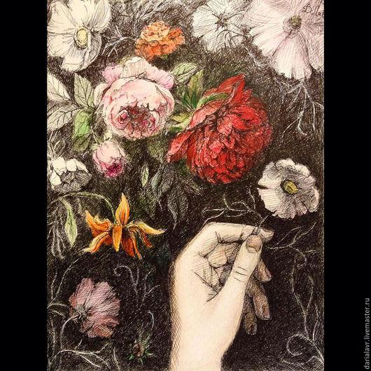 Картины цветов ручной работы. Ярмарка Мастеров - ручная работа. Купить цветы цветы. Handmade. Разноцветный, в узорах сада