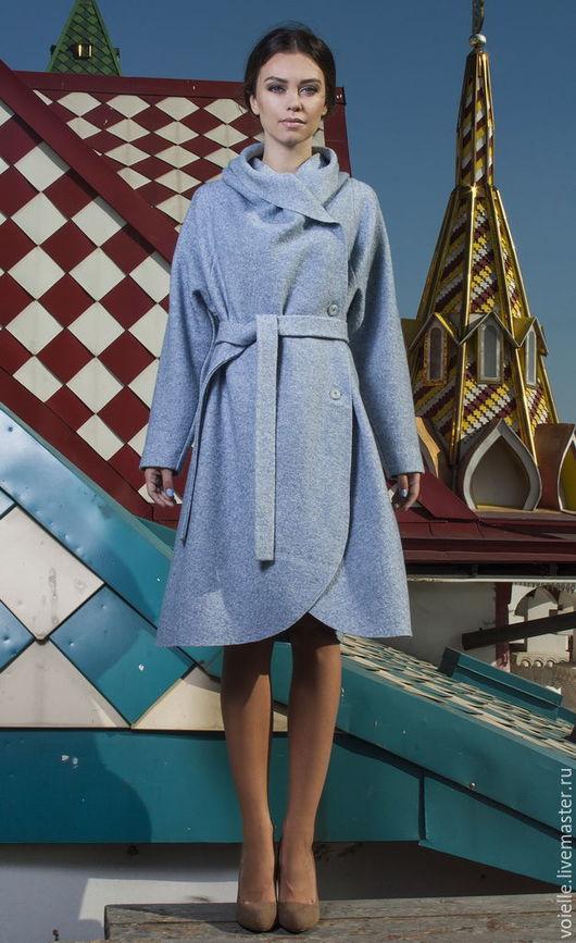 Пальто из валяной шерсти лоден, шерсть 100%, демисезонное женское на весну, на осень, на лето без подкладки голубое oversize