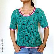 Одежда handmade. Livemaster - original item Sweater women`s emerald foliage, green, leaves pattern, 100% cotton. Handmade.
