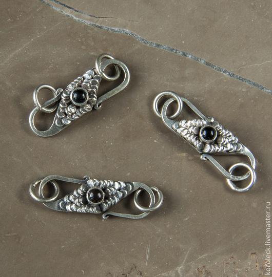 Для украшений ручной работы. Ярмарка Мастеров - ручная работа. Купить Застежка серебряная с черным ониксом ручной работы. Handmade.