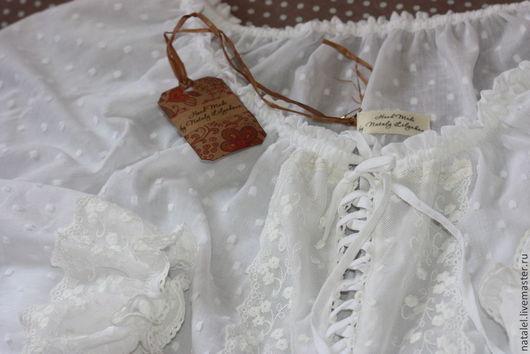 """Блузки ручной работы. Ярмарка Мастеров - ручная работа. Купить Блузка белая с длинным рукавом """"Provence-5""""  кружево бохо стиль  кантр. Handmade."""