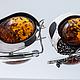 Серьги ручной работы. Ярмарка Мастеров - ручная работа. Купить Серебряные серьги с янтарем - ЗРЕЛОСТЬ. Handmade. Рыжий