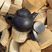Посуда ручной работы. Ярмарка Мастеров - ручная работа Чайный сервиз Керамика чернолощёная.. Handmade.