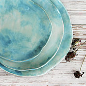 """Тарелки ручной работы. Ярмарка Мастеров - ручная работа Набор тарелок """"Акварельные"""" 3 шт. Керамика.. Handmade."""