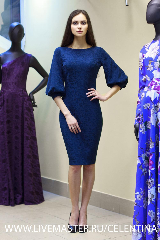 8b8830a5a63 Темно синее платье футляр. Нарядное осеннее платье. Трикотажное ...
