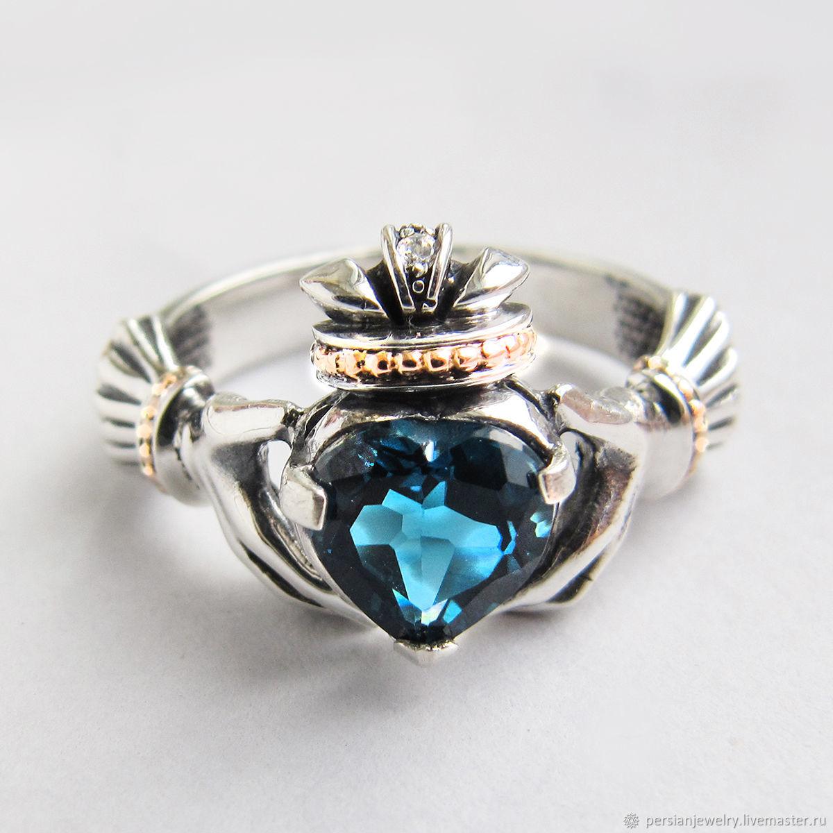 Silver ring with London topaz ' Claddagh', Rings, Sevastopol,  Фото №1