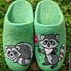 Обувь ручной работы. домашние валяные тапочки-шлепки  Крошка и Енот. Кэт & Ко (6116466). Ярмарка Мастеров.