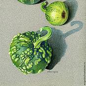 Картины и панно ручной работы. Ярмарка Мастеров - ручная работа Натюрморт Зеленые тыквы. Handmade.