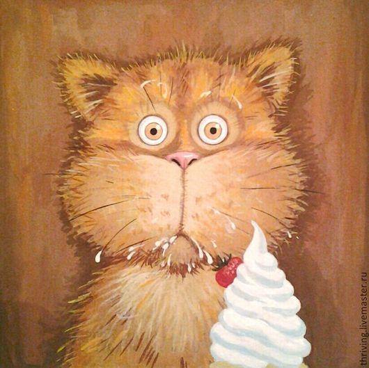 Рыжий кот. Смешной кот. Прикольная картина. Прикольная картина, картина с котом, смешной кот, подарок на 1 апреля, прикольный рыжий кот, кот и сметана, смешной мультяшный кот, веселый подарок