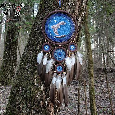 """Feng Shui handmade. Livemaster - original item Тотемный ловец снов """"Хамингья"""" с аквамарином и перьями птиц, 72 см. Handmade."""