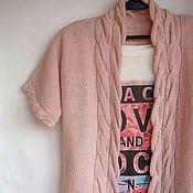 Одежда ручной работы. Ярмарка Мастеров - ручная работа Вязаный жилет/жакет с косами Розовый кварц. Handmade.