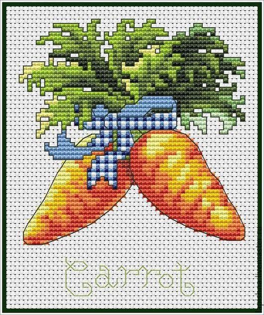 Вышивка ручной работы. Ярмарка Мастеров - ручная работа. Купить Схема для вышивки крестом «КУХНЯ. Овощи. Морковь». Handmade. овощи