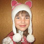 Работы для детей, ручной работы. Ярмарка Мастеров - ручная работа Осенняя Шапочка-кошка(двойная вязаная шапочка с ушками из 100% шерсти). Handmade.
