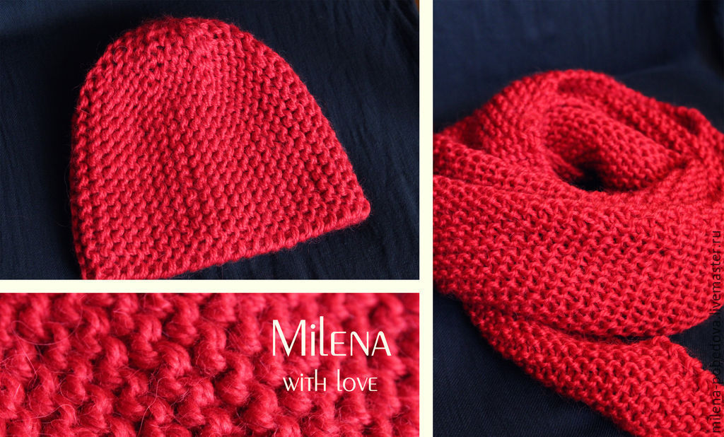 A set of knitted raspberries, a knitted hat, a knitted scarf, Headwear Sets, Minsk,  Фото №1