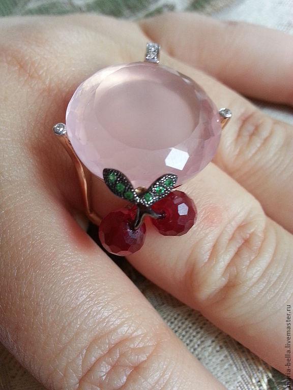 Cocktail Cherry. Quartz, diamonds, gold, Rings, Moscow,  Фото №1