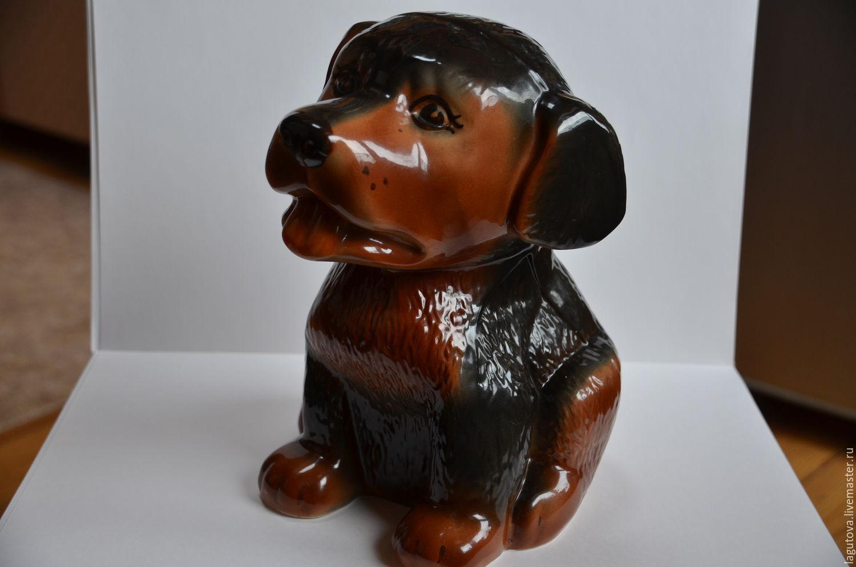 Винтаж: Большая собака-щенок -копилка керамика высота 27см, Предметы интерьера винтажные, Конаково,  Фото №1