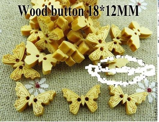 Для украшений ручной работы. Ярмарка Мастеров - ручная работа. Купить Пуговицы деревянные- бабочки 12х18мм. Handmade. Пуговицы, пуговица