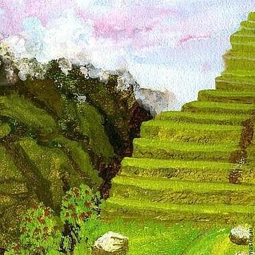 """Картины и панно ручной работы. Ярмарка Мастеров - ручная работа картина """"Лестница к небу"""" (салатовый, белый). Handmade."""